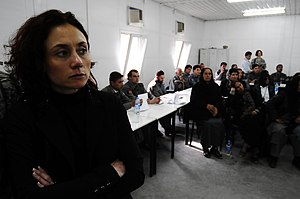 Victimology - Anna Baldry (left) senior researcher at the International Victimology Institute Tilburg (INTERVICT), watches as participants conduct role-play scenarios during domestic and gender-based violence training at the Central Training Center. Afghan National Police (ANP)