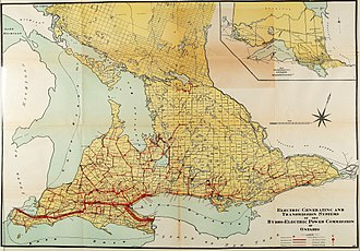 Ontario Hydro - Extent of Hydro's generating and transmission network (1919)