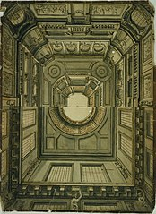 Double design for a monumental ceiling in Louis XIV style