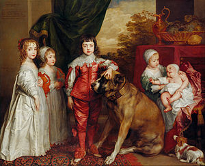The Blue Boy - The Children of King Charles I of England (1637) by Van Dyck. From left:  Mary, James – unbreeched at four, Charles, Elizabeth and Anne.