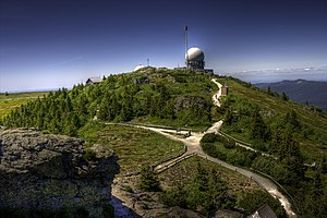 Bavarian Forest - Summit of the Großer Arber with its summit cross and radome