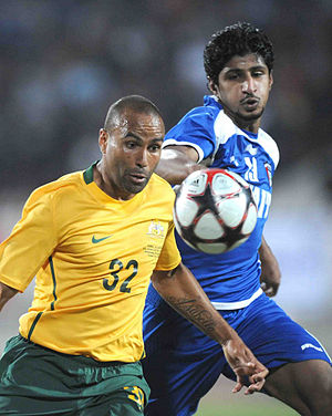 Archie Thompson - Archie Thompson playing for Australia against Kuwait in 2010.