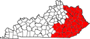 Area code 606 - Approximate service area of Area Code 606 is in red.