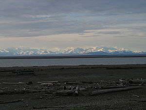 Arey Island - Snow-dusted Brooks Range in the view from Arey Island