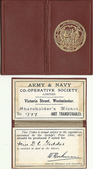 Army & Navy Stores (United Kingdom) - Image: Army & Navy Co operative society shareholder's ticket