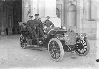 Afonso, Duke of Porto - Afonso of Braganza at the steerwheel (late 1900s).