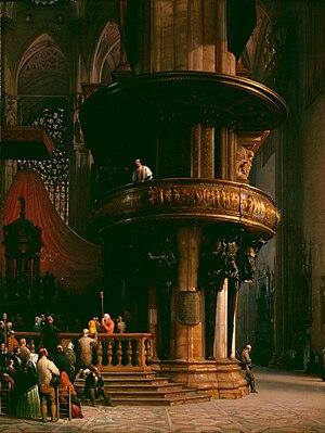 Luigi Bisi - Predica nel Duomo di Milano, 1837
