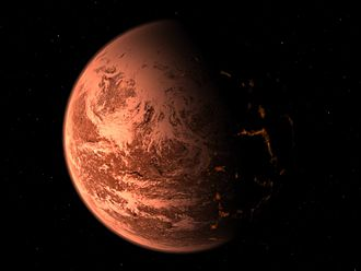 Gliese 876 - Image: Artist's view of an exoplanet inspired by the discovery of Gliese 876 d