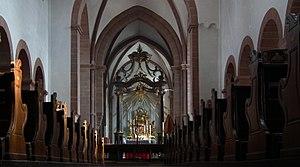 St. Peter und Alexander (Aschaffenburg) - Interior of the nave with high altar