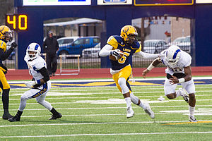 Vernon Johnson (American football) - Johnson (6) in action against Angelo State in 2014.