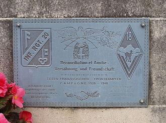 Attigny, Ardennes - Reconciliation plaque