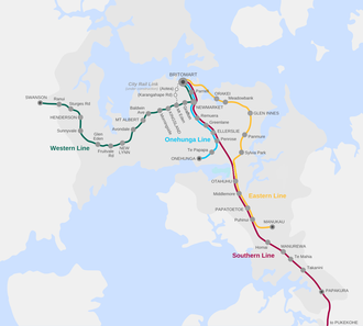 City Rail Link - Current and proposed lines of the Auckland rail network as of 12 March 2017, showing the City Rail Link between Britomart and the vicinity of Mount Eden station.