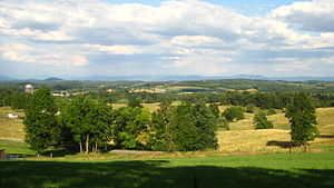 Augusta County, Virginia - View of Augusta County countryside across the Shenandoah Valley toward the Blue Ridge Mountains.
