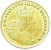 Die erste Goldmünze August d'or für Polen 1753–175621 Karat 8 Grän fein = 902,778 ‰ Gold Feingewicht = 6,032 g (Quelle: Wikimedia)