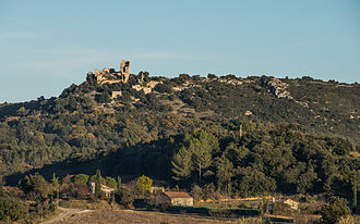 Aumelas - The castle from West.