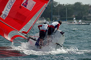Capsizing - A team at the 2005 ISAF Team Racing World Championship narrowly avoids capsizing.