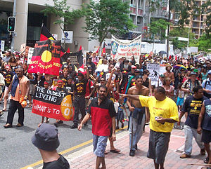 National identity - Aboriginal groups protesting in Brisbane, Australia.
