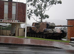 Returned and Services League of Australia - Kilcoy RSL's Leopard 1 tank is a prominent landmark.