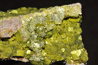 Uranium ore - Autunite, a secondary uranium mineral named after the town of Autun in France