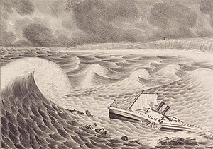 1837 Racer's hurricane - Lithograph by Nathaniel Currier depicting the loss of the SS ''Home'' on the Outer Banks during Racer's hurricane