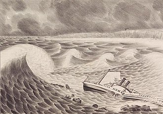 An illustration of the steamship Home breaking apart in shallow waters just off the beach. The Home is split in two, lying on its starboard side, and about to be struck by one particularly large wave.