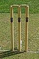 Aythorpe Roding Cricket Club pitch wicket stumps and bales, Essex, England 3.jpg