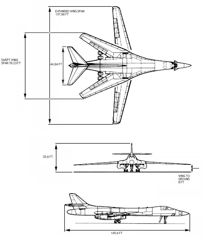 B-1A orthographic projection