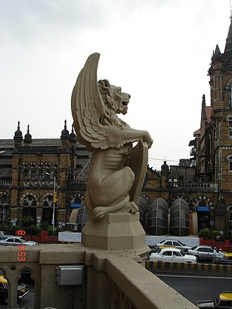 Municipal Corporation Building, Mumbai - Winged Lion, Griffin like sculpture or Gargoyle on the building