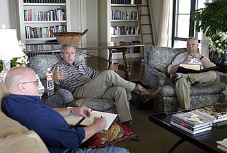Richard Armitage (naval officer) - Armitage with President George W. Bush and Secretary of State Colin Powell, August 6, 2003