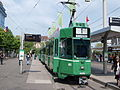 BVB Tram car 483, line 1 towards Dreiosenbrucke at Basel, Switserland.JPG