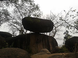 Balancing rock - Balancing rock near Madan Mahal Fort, Jabalpur, Madhya Pradesh, India