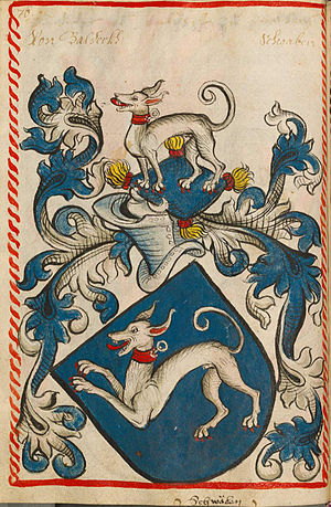 Hound (heraldry) - Coat of arms of Baldeck (a baronial family of Württemberg) in Scheiblersches Wappenbuch (15th century)