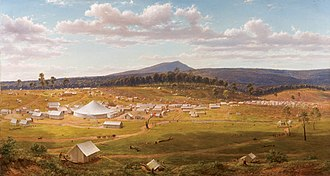 Victorian gold rush - Ballarat's tent city just a couple of years after the discovery of gold in the district.  Oil painting from an original 1853 sketch by Eugene von Guerard.