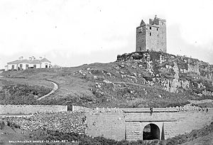 Ballinalacken Castle - Ballinalacken Castle in the late 19th century, with the residence and later castle hotel on the left