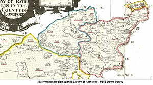 Ballymahon - Ballymahon Region within Barony of Rathcline - Down Survey 1659