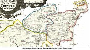Ballymahon - Ballymahon Region within Barony of Rathcline - Down Survey 1659