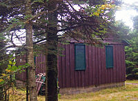 A brown wooden building in a small grasy clearing partially obscured by evergreen trees in the left foreground. It has green bars on the windows and a small pile of wooden debris propped against the front left corner.