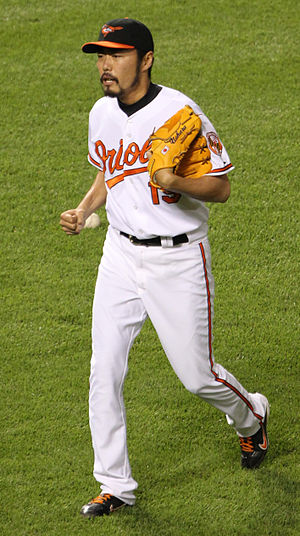 Koji Uehara - Uehara during his tenure with the Baltimore Orioles in 2011