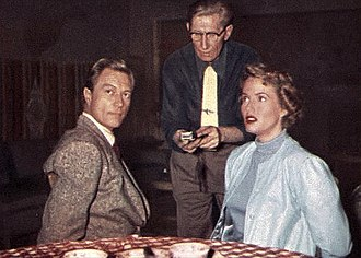 Mr. and Mrs. North - Richard Denning and Barbara Britton on the set of the television show