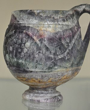 History of fluorine - The Barber Cup, a Roman fluorite carving (on display at the British Museum)