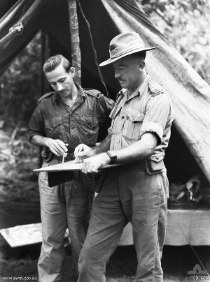 Basil Catterns - Basil Catterns (left) in action in New Guinea, 1944