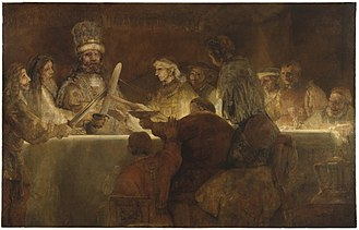 The Conspiracy of Claudius Civilis, 1661, by Rembrandt, depicts a Batavian oath to Gaius Julius Civilis, the head of the Batavian rebellion against the Romans in 69 CE. Bataafseeed.jpg