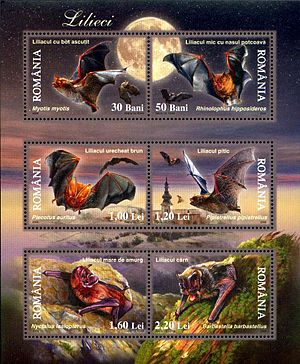 Microbat - The bats are (from top to bottom and left to right): the greater mouse-eared bat, the lesser horseshoe bat, the brown long-eared bat, the common pipistrelle, the greater noctule bat, and the barbastelle, Romanian post miniature sheet, 2003