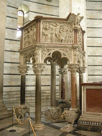 Nicola Pisano - Pulpit in the baptistery of Pisa