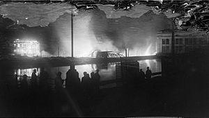 Battle of Varkaus - A. Ahlström Ltd. sawmill on fire