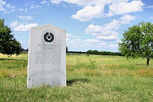 Córdova Rebellion - 1936 Texas Centennial marker at Battleground Prairie