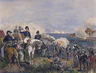Battle of Plattsburgh - Macomb watches the naval battle. Note that this painting is horizontally reversed; as shown it would mean that the American land forces were on the north side of the Saranac River, but were in fact on the south.