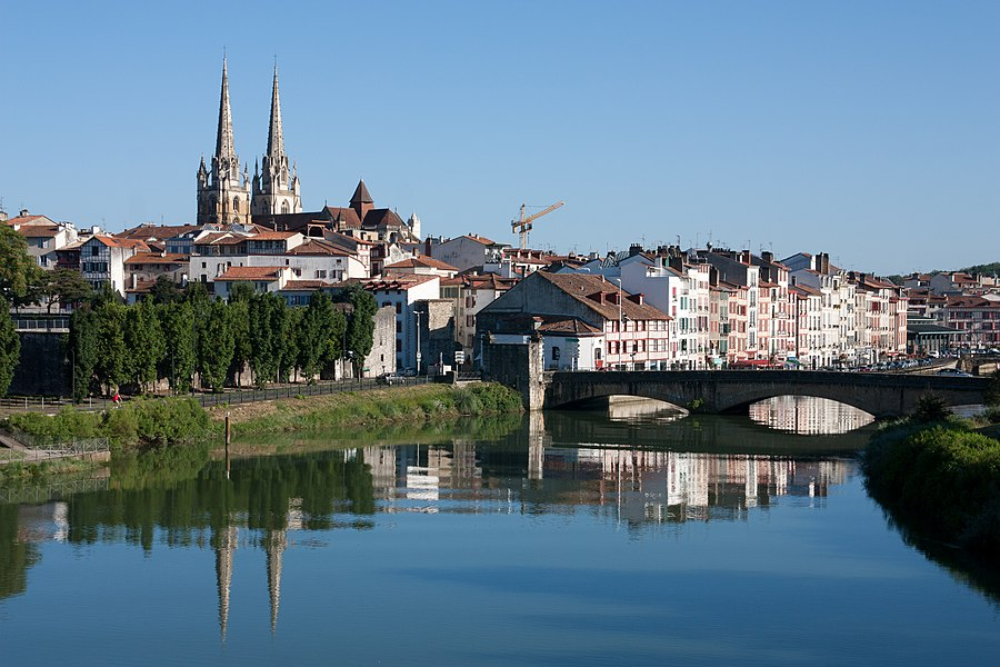 Historic center of the town of Bayonne, seen from the club house of the Aviron Bayonnais.