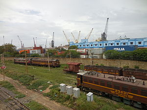Chennai Beach railway station - Lines at Chennai Beach railway station serving the Chennai Port. The port is visible at the background.