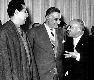 Ahmed Ben Bella - Egypt´s president Nasser with Tunisia's Bourkiba and Ben Bella, 1963